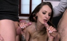 Euro beauty DP screwed and jizzed in mouth