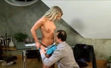 Blonde Teen Takes Hard Dick Doggystyle