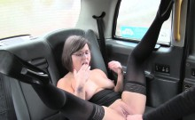 Amateur in stockings bent over fucked in fake taxi