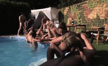 Intense orgy action by the pool