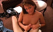 Mature amateur in glasses handjob for cumshot and loves it