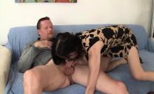 Skinny MILF Natasha Kee sucks a guy's dick and then takes