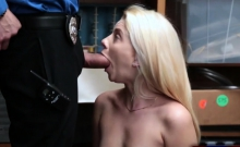 Skinny blonde shoplifter punish fucked by mall officer