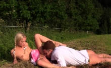 Euro teen fucked outdoors in the mountains