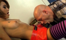 Domina babe rides cock after pegging sub