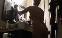 My mother nude in our bathroom