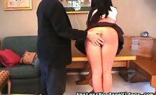 Brunette schoolgirl spanked