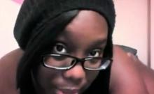 Nerdy BBW ebony shows sexy body on webcam