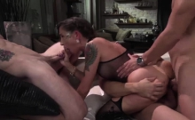 Three big cocks fucked Malenas tight ass and wet pussy