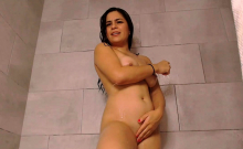 Fatty young camgirl with juicy tits in shower on webcam