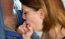 Redhead POV blowjob and facial