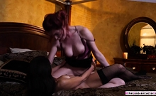Redhead babe licked by a female stripper