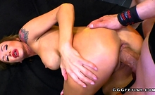 Tattooed busty milf gets cums and gives swallows