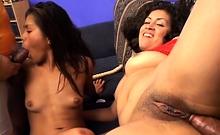 Sweet Latinas enjoying an intense foursome