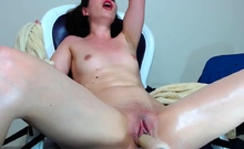 Kinky babe Monica pours wax while fucked by a machine