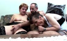 Two German Grandmams at Real FFM Threesome Porn Casting Sex
