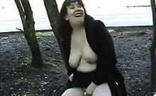Chubby Woman Flashing Her Tits And Pussy